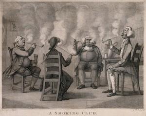 view Four Georgian gentlemen sit in their club seriously engaged in smoking. Engraving with stipple by H. Bunbury, 1794.
