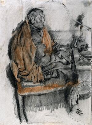 view A buddhist monk sits meditating as he smokes. Black and red chalk drawing, 1926.