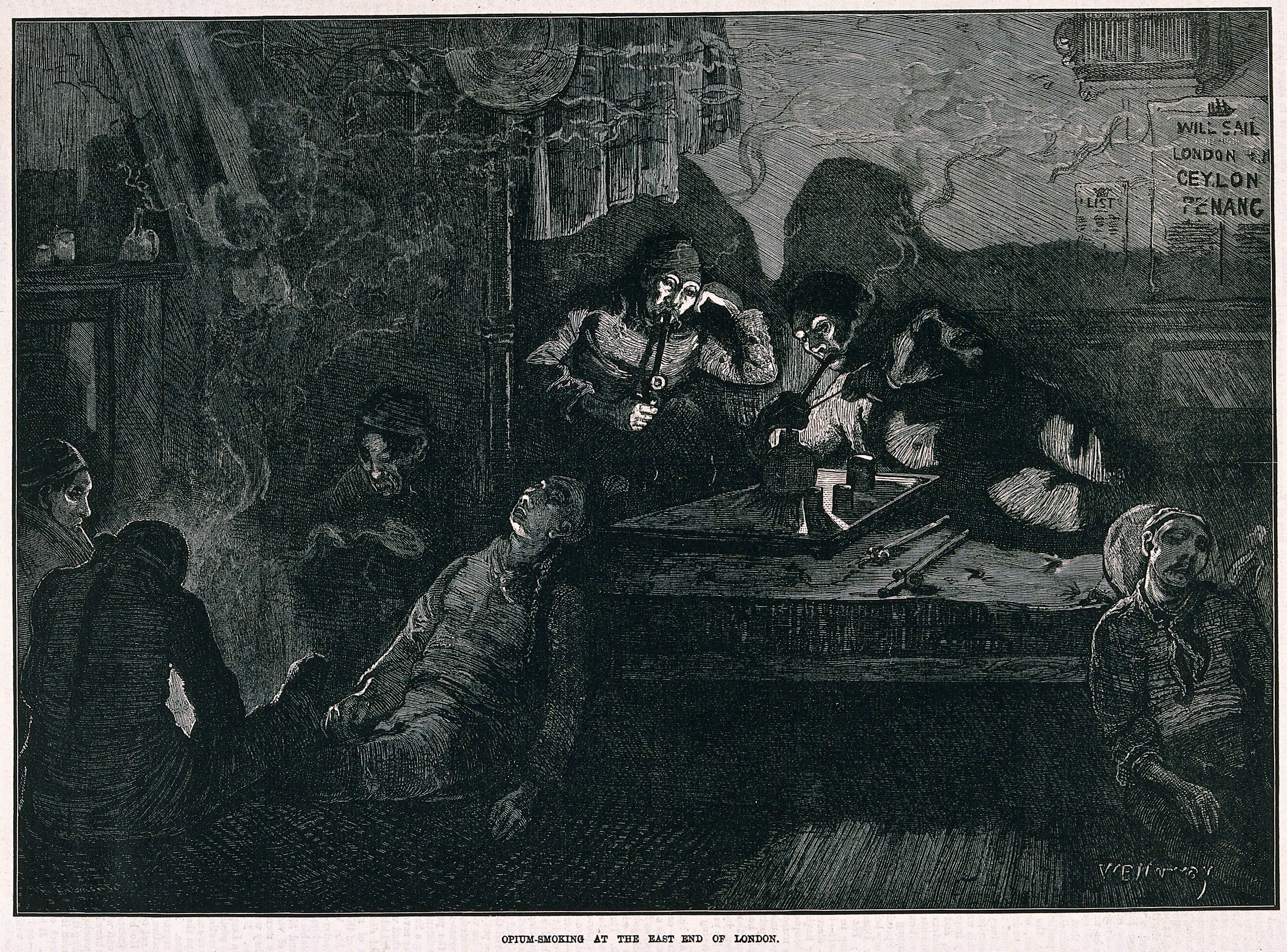 An opium den in London's East End with smokers lying on wooden bunks