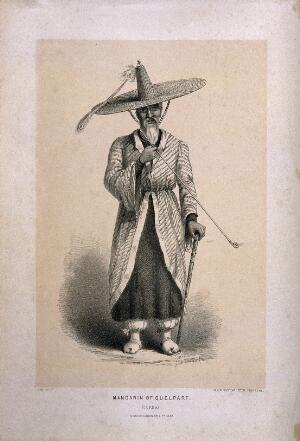 view A Korean man in large hat stands smoking a pipe. Lithograph, c. 1857, after F. M.