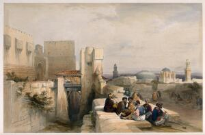 view Men sitting to smoke by the citadel of Jerusalem. Coloured lithograph by L. Haghe after D. Roberts, 1841.