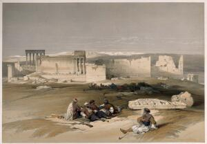 view Men resting to smoke by the ruins of Baalbeck, Lebanon. Coloured lithograph by L. Haghe after D. Roberts, 1839.