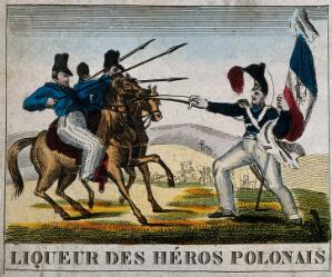 view A liqueur label illustrated with a French foot-soldier attacking a Polish cavalcade. Coloured engraving, 19th century.
