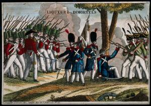 view A liqueur label illustrated with French soldiers surrendering to foreign troops. Coloured engraving, 19th century.