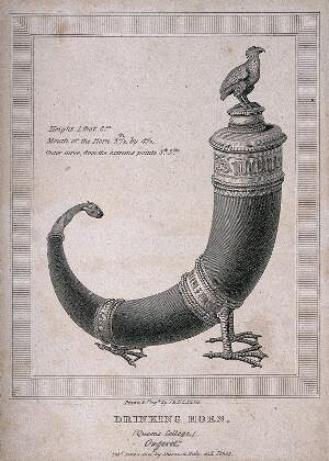 view A silver drinking horn dating from the 14th century. Engraving by J. & H. S. Storer, 1821.