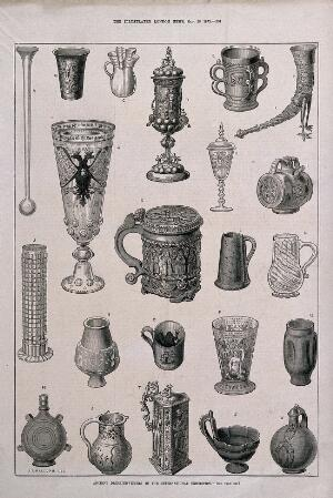 view Twenty two ancient drinking vessels from an exhibition. Wood-engraving, c. 1873, after J. T. Balcomb.