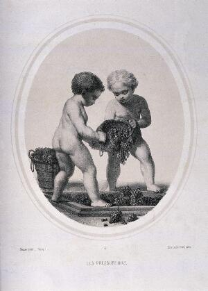 view Two naked children pressing grapes. Lithograph by Piecq, c. 1845, after Gosse.