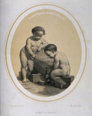 view Two naked children bottling champagne. Lithograph by Piecq, c. 1845, after Gosse.