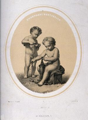 view Two naked children tasting champagne and tying up bottles. Lithograph by Piecq, c. 1845, after Gosse.