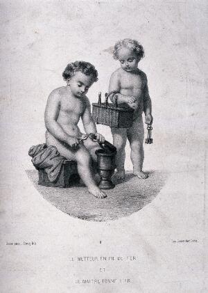 view Two naked children tying up and storing champagne bottles. Lithograph by Piecq, c. 1845, after Gosse.