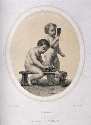 view Two naked children wrapping and inspecting champagne bottles. Lithograph by Piecq, c. 1845, after Gosse.