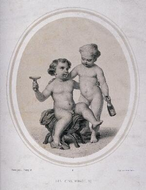 view Two naked children drinking champagne. Lithograph by Piecq, c. 1845, after Gosse.