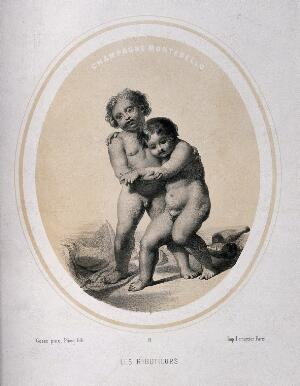 view Two naked children in a drunken state. Lithograph by Piecq, c. 1845, after Gosse.