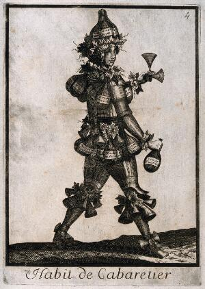 view An innkeeper composed of wine bottles and grapes. Engraving, c. 1660 (?).