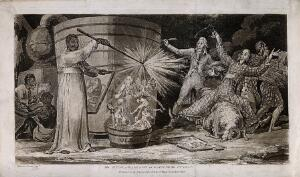 view An evil magician raises demons from a distillery tub as onlookers fall back amazed. Coloured aquatint, c. 1808, after S. De Wilde.