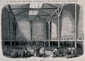 view Barclay and Perkins brewery, Southwark: visitors in a store for vats and barrels. Wood-engraving, 1847.