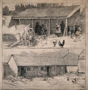 view Two scenes of farm buildings with workers packing hops. Wood-engraving, c. 1874.