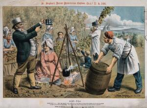 view John Bull making hop-tea in front of a hop grower and his workers; representing adulteration of beer by brewers. Chromolithograph by T. Merry, 1890, after himself.