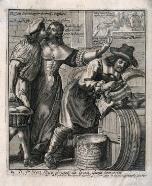view An innkeeper adds water to his wine as his customer, a baker, kisses the landlady. Engraving by J. Lagniet, ca. 1663.