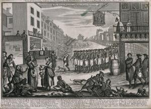 view A procession of publicans and a beggar following the coffin of Madam Geneva; attacking the Act preventing distillers from retailing or selling gin to unlicensed premises. Engraving, 1751.