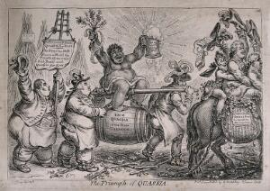 view A triumphant American slave woman representing quassia (ingredient in acoholic drinks) is carried aloft by two brewers; representing the outcry against a tax on private brewing (?). Etching by J. Gillray, 1806.