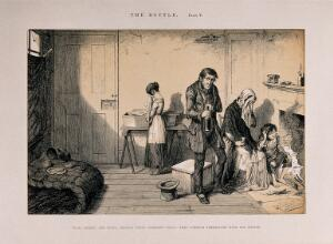 view A drunken man at home with his starving and ruined family. Etching by G. Cruikshank, 1847, after himself.