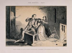 view A drunken man fights with his family, all ruined through his drinking habit. Etching by G. Cruikshank, 1847, after himself.