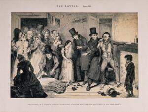 view A drunken man is arrested for killing his wife. Etching by G. Cruikshank, 1847, after himself.