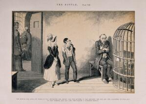 view A maniacal man is visited in prison by his children, all ruined through his drinking habit. Reproduction of an etching by G. Cruikshank, 1847, after himself.