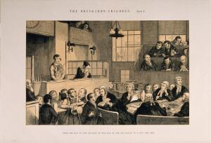 view A convicted thief stands on trial in a packed law court while his sister weeps. Etching by G. Cruikshank, 1848, after himself.