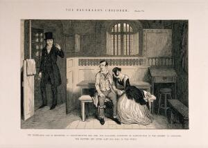 view A convicted thief sits in prison with his distraught sister who has been acquitted. Etching by G. Cruikshank, 1848, after himself.
