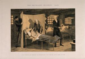 view A prisoner lies dying in his bed, his life ruined by early frivolity. Etching by G. Cruikshank, 1848, after himself.