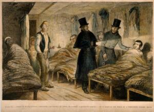 view Police raid a lodging house at night and arrest a convicted thief. Coloured etching by G. Cruikshank, 1848, after himself.