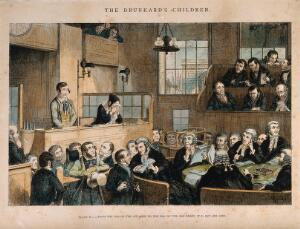 view A convicted thief stands on trial in a packed law court while his sister weeps. Coloured etching by G. Cruikshank, 1848, after himself.