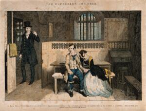 view A convicted thief sits in prison with his distraught sister who has been acquitted. Coloured etching by G. Cruikshank, 1848, after himself.