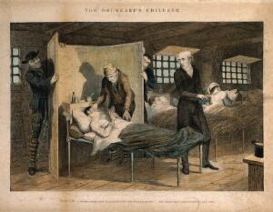 view A prisoner lies dying in his bed, his life ruined by earlier frivolity. Coloured etching by G. Cruikshank, 1848, after himself.