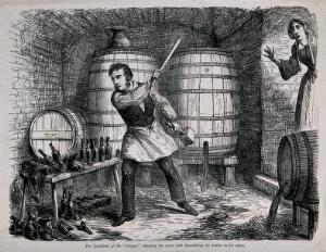 view A man destroys his entire wine stock to the horror of his wife. Wood-engraving by J. Johnston, c. 1864, after G. Cruikshank.