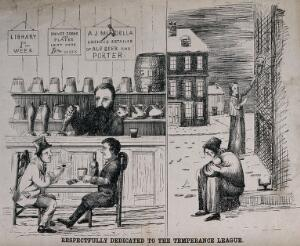 view The Sheffield election of 1868: (left) two men play cards and drink in a warm pub; (right) two women (one with a baby) beg and cower in a snowy street. Transfer lithograph, 1868.