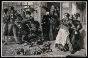 view Women eject a drunk and publican from a bar in a crusade against drunkenness. Wood-engraving by A. Joliet, c. 1875, after Castelli.