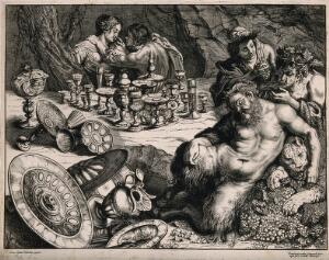 view A bacchanalian scene with Pan sleeping and many drinking vessels left on a table. Etching by F. van den Wyngaerde after P. Rubens, mid 17th century.