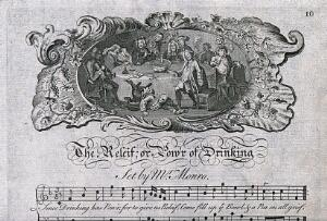 view Drinking song set to music, drunken party, G Bickham, c 1731