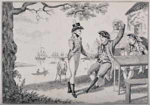 view Two naval veterans drinking to the future outside a seaside inn, with an accompanying poem. Reproduction of an etching by I. & G. Cruikshank, 1806.
