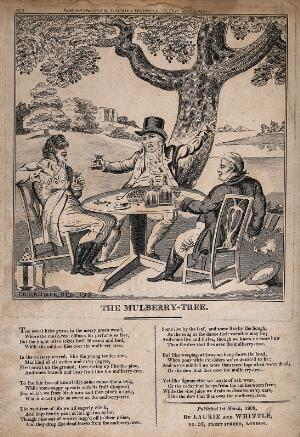 view Three men carousing beneath a mulberry tree, with verses of a song comparing the life of humans to the life of a tree. Etching after I. Cruikshank, 1808.