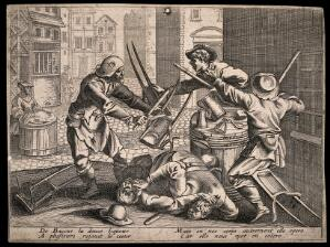 view A drunken street brawl between four young colporteurs and a man, with two accompanying couplets. Etching, 16th century (?).