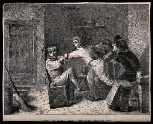 view A drunken brawl in a tavern with men shouting encouragement. Wood engraving, 19th century, after A. Brouwer.