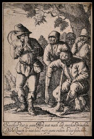view A peasant man sits on a tree stump vomiting and onlookers hold their noses, with an accompanying couplet. Etching, 17th century.