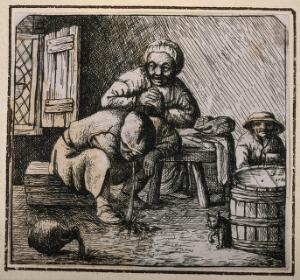 view Two peasants sit at a table as a third man vomits on the floor. Etching by D. Deuchar, 1784, after A. van Ostade (?).