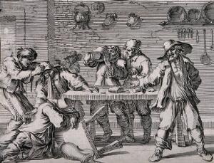 view Men drinking, vomiting and collapsing around a tavern table. Etching by J. Le Poutre, 17th century, after himself.