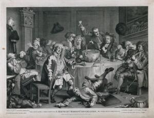 view A drunken party with men smoking, sleeping and falling to the floor. Engraving by T. Cook, c. 1798, after W. Hogarth.