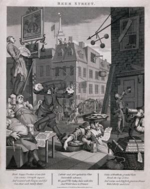 view A busy street corner with traders stopping for a tankard of beer and an artist painting a pub sign. Engraving by T. Cook, c. 1800, after W. Hogarth.